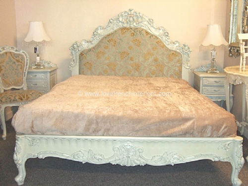 Rococo Bespoke Ornately Carved Upholstered Bed